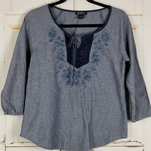 Lucky Brand Chambrey embroidered tie top